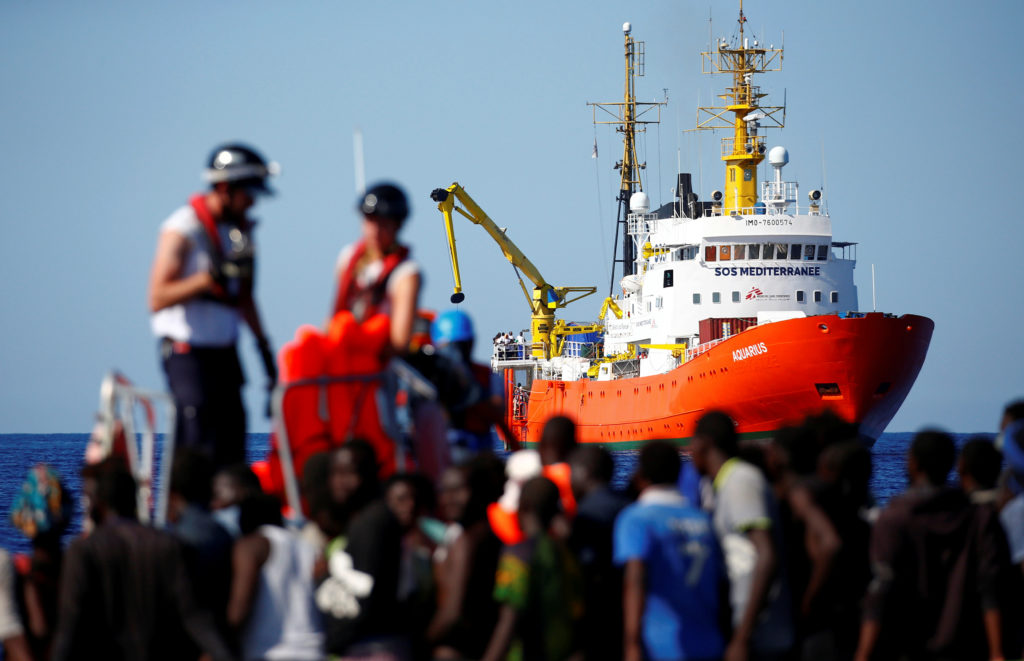 The MV Aquarius rescue ship is seen as migrants on are rescued by the SOS Mediterranee organisation during a search and rescue (SAR) operation in the Mediterranean Sea, off the Libyan Coast. Photo by Tony Gentile/Reuters