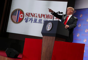 President Donald Trump speaks during a news conference after his meeting with North Korean leader Kim Jong Un at the Capella Hotel on Sentosa island in Singapore. Photo by Jonathan Ernst/Reuters