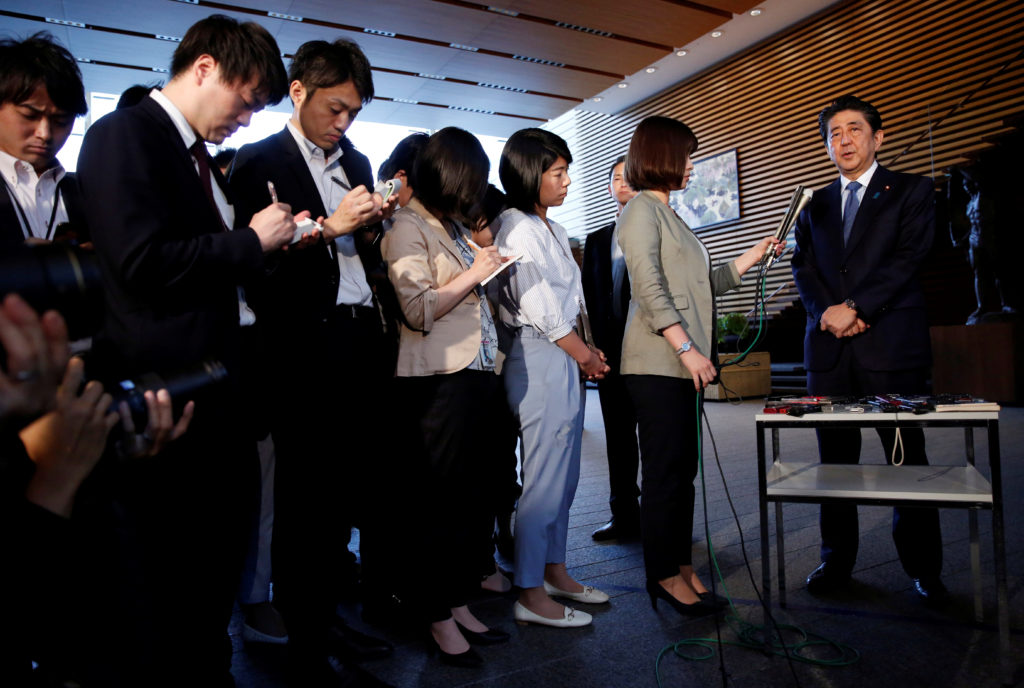 Japan's Prime Minister Shinzo Abe speaks to media after the news conference by the President Donald Trump after the summit between the U.S. and North Korea in Singapore, at Abe's official residence in Tokyo, Japan. Photo by Issei Kato/Reuters