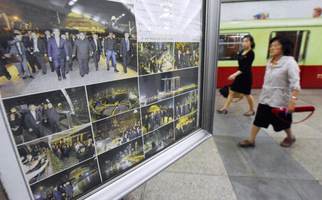 North Korean newspapers reporting North Korea's leader Kim Jong Un's Singapore visit are displayed at a subway station in Pyongyang, North Korea. Photo by Kyodo/Reuters