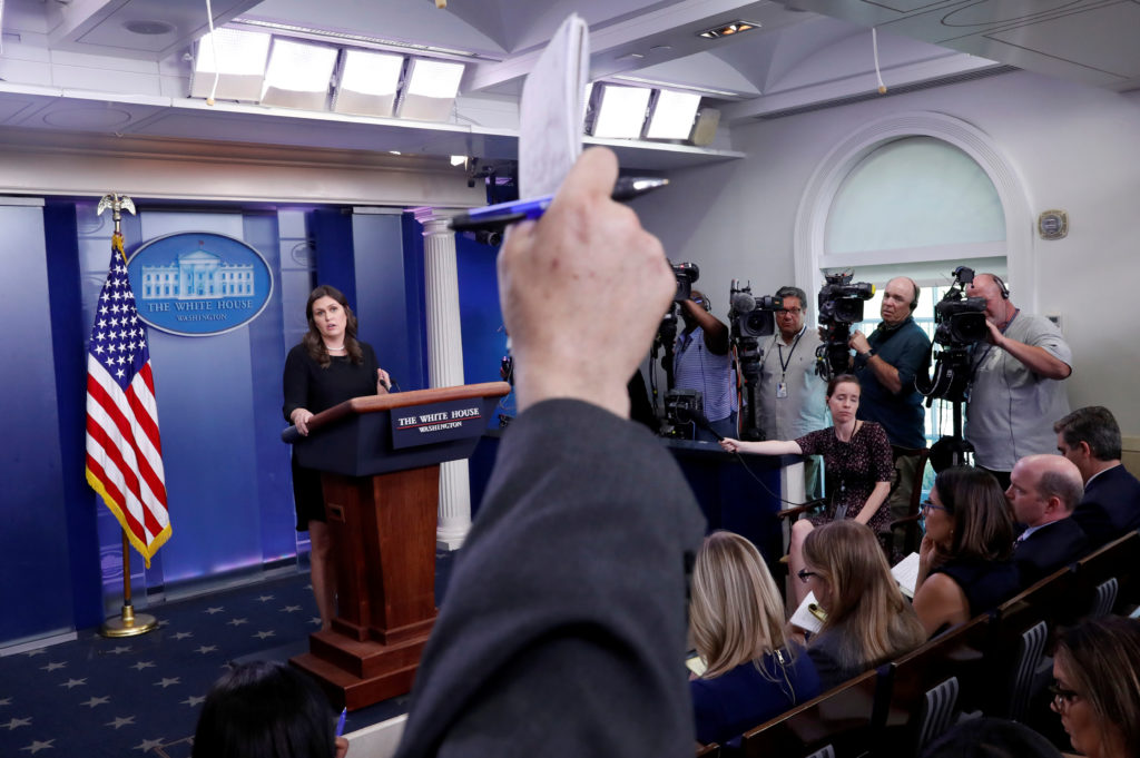 White House Press Secretary Sarah Huckabee Sanders holds the daily briefing at the White House in Washington, D.C. Photo by Leah Millis/Reuters