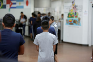 Occupants at Casa Padre, an immigrant shelter for unaccompanied minors, in Brownsville, Texas, are seen in this photo provided by the U.S. Department of Health and Human Services on June 14, 2018. Photo by ACF/HHS/Handout via Reuters