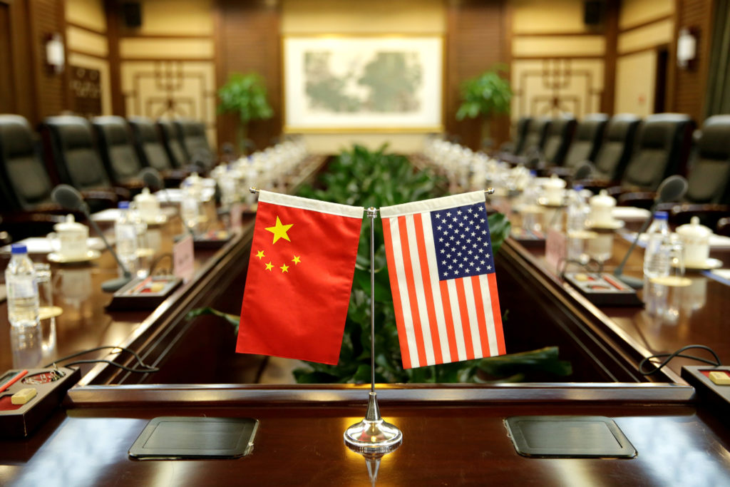 Flags of U.S. and China are placed for a 2017 meeting between Secretary of Agriculture Sonny Perdue and China's Minister of Agriculture Han Changfu at the Ministry of Agriculture in Beijing, China. Photo By Jason Lee/Reuters