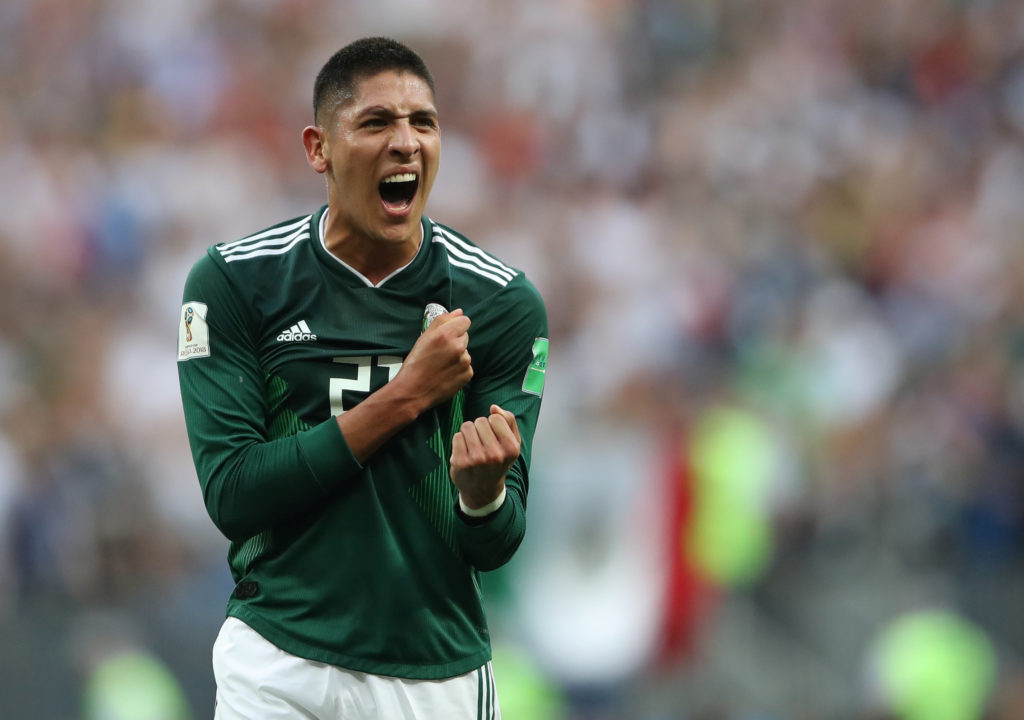 Mexico's Edson Alvarez celebrates after an unexpected victory over Germany in the group stage. REUTERS/Carl Recine