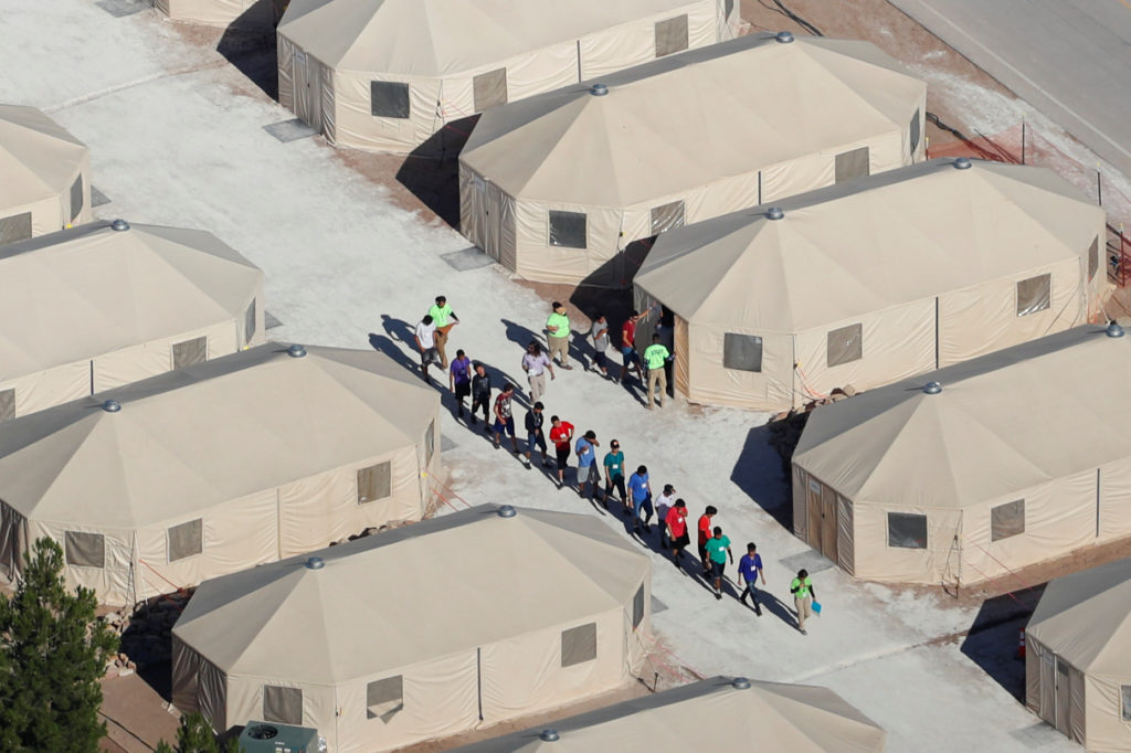 Immigrants are housed in tents next to the Mexican border in Tornillo, Texas, on June 18, 2018. Photo by Mike Blake/Reuters