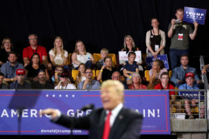 President Donald Trump holds a rally with supporters in Duluth, Minnesota. Photo by Jonathan Ernst/Reuters