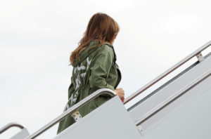 "U.S. first lady Melania Trump is scheduled to return to the U.S.-Mexico border. Last week, she boarded her plane wearing a Zara design jacket with the phrase ""I Really Don't Care. Do U?"" on the back as she departed to visit the U.S.-Mexico border area in Texas from Joint Base Andrews, Maryland, U.S., June 21, 2018. REUTERS/Kevin Lamarque"