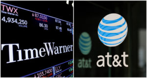 A combination photo shows the Time Warner shares price at the New York Stock Exchange and AT&T logo in New York, NY. Photo by Lucas Jackson (L) and Stephanie Keith/Reuters