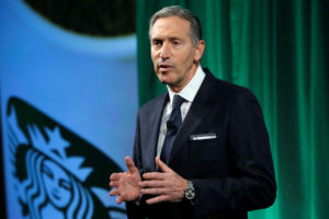 Starbucks Chairman and CEO Howard Schultz delivers remarks at the Starbucks 2016 Investor Day in Manhattan, New York, U.S. December 7, 2016. REUTERS/Andrew Kelly