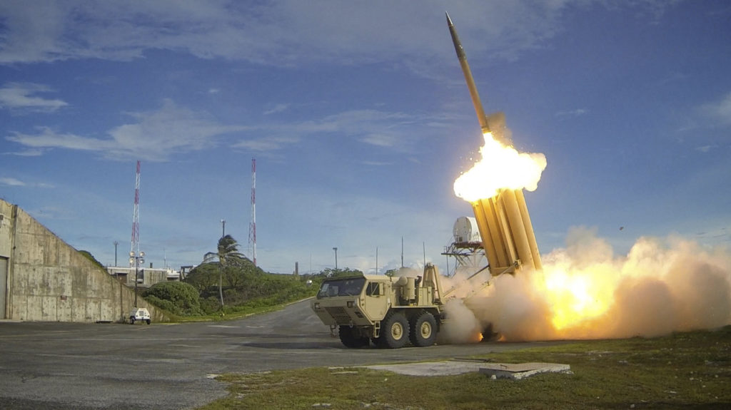 A Terminal High Altitude Area Defense (THAAD) interceptor is launched during a successful intercept test. THAAD provides the U.S. military a land-based, mobile capability to defend against short- and medium-range ballistic missiles, intercepting incoming missiles inside and outside the earth's atmosphere. Photo by REUTERS/U.S. Department of Defense, Missile Defense Agency/Handout via Reuters