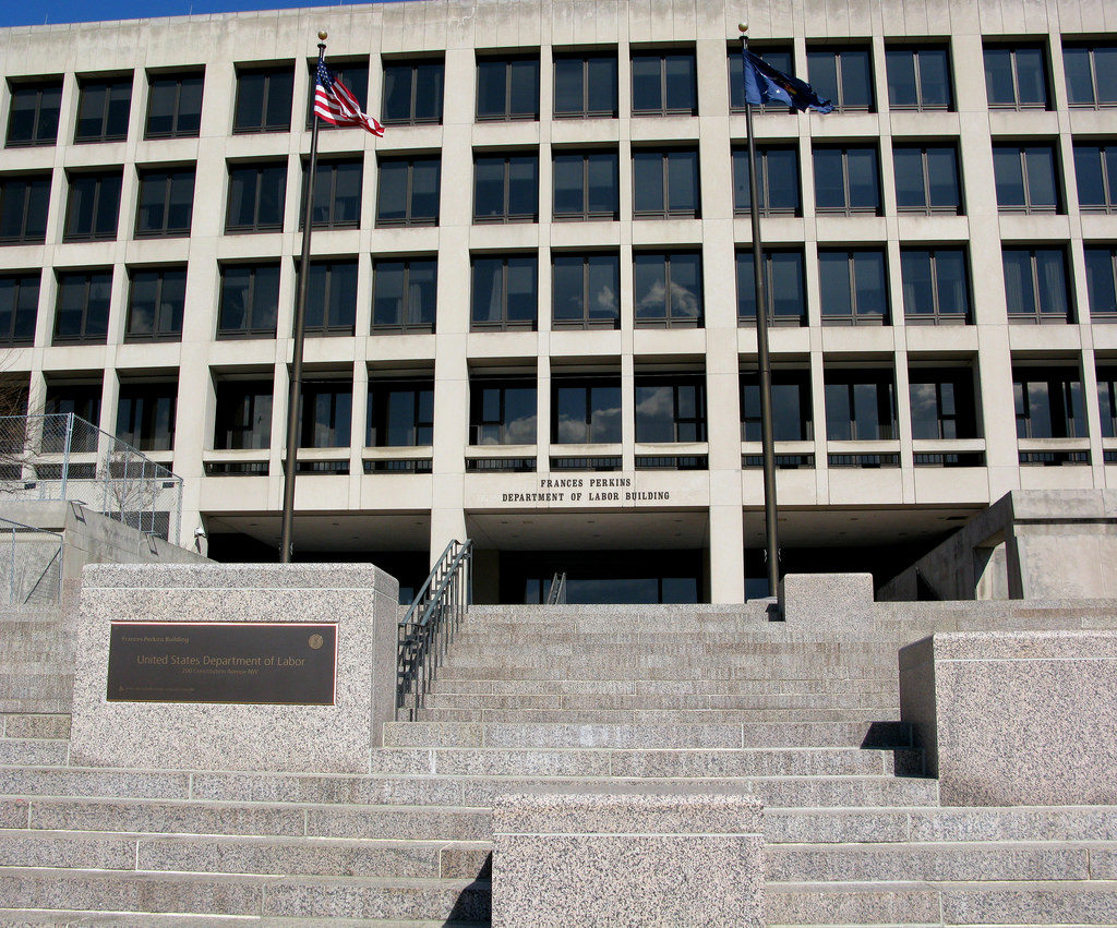 The U.S. Department of Labor's building is seen in Washington, D.C. The Labor Department says claims for jobless aid fell last week to the lowest number since September 1969. Photo by Flickr user erin_johnson/Creative Commons