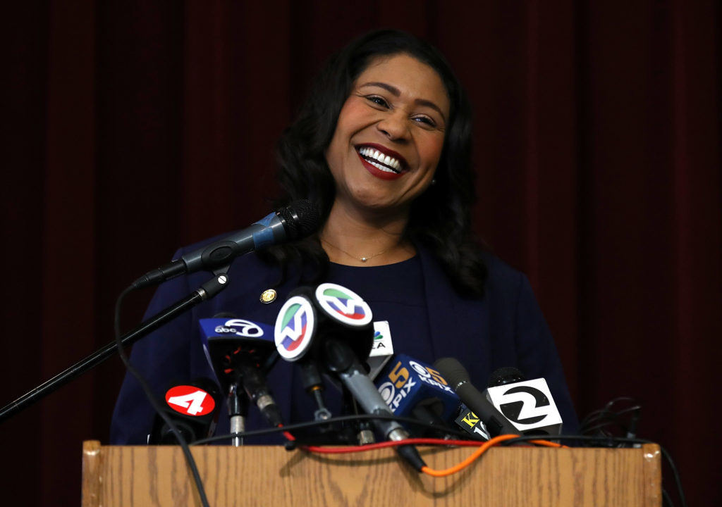 San Francisco Mayor-elect London Breed speaks during a news conference at Rosa Parks Elementary School on June 14, 2018 in San Francisco, California. Photo by Justin Sullivan/Getty Images