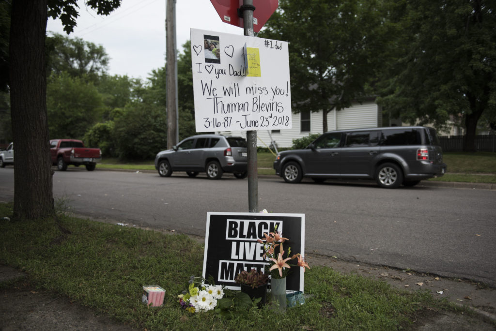 A memorial site for Thurman Blevins is seen in Minneapolis, Minnesota. Blevins, 31, was shot and killed on June 23 after an altercation with Minneapolis Police. Photo by Stephen Maturen/Getty Images