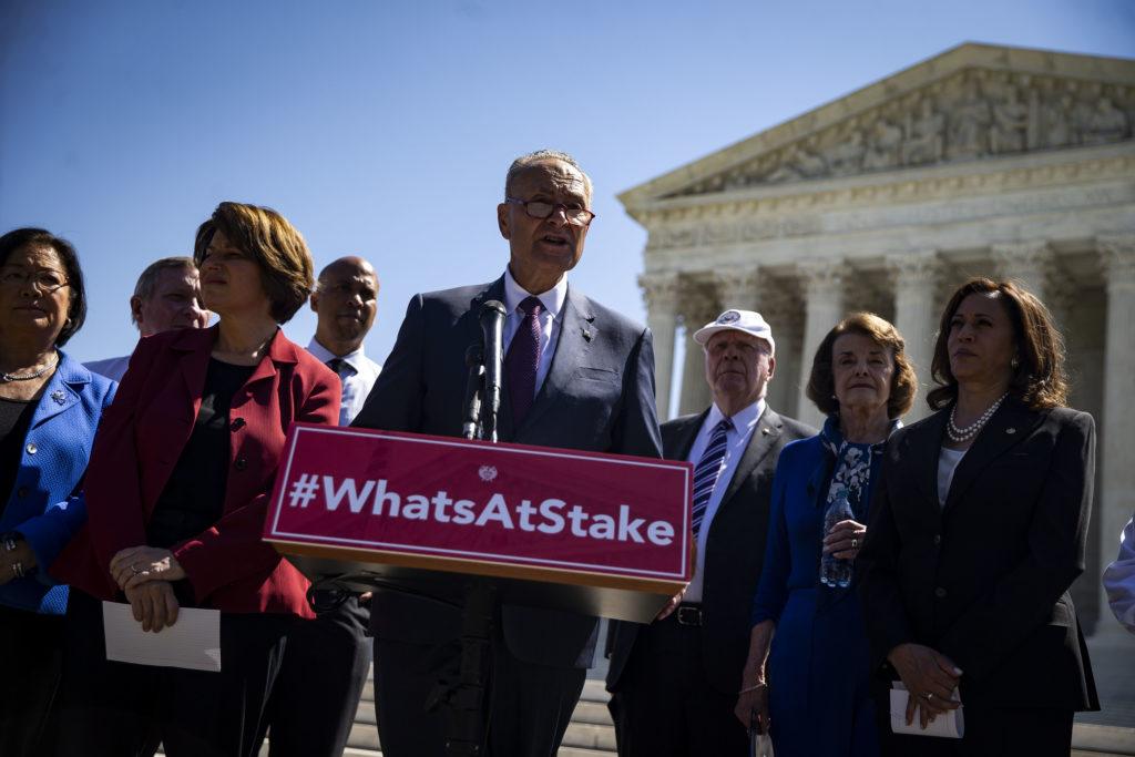 WASHINGTON, DC - JULY 10: Senate Minority Leader Chuck Schumer D-N.Y.) speaks with Senate Democrats, during a news confere...