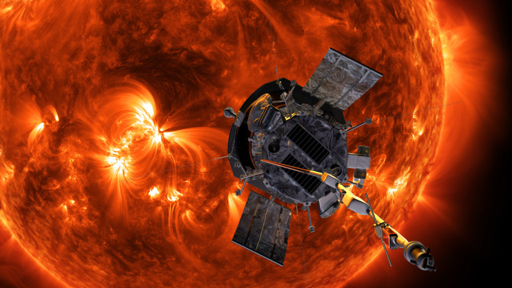 Illustration of the Parker Solar Probe spacecraft approaching the Sun. Image by NASA/Johns Hopkins APL/Steve Gribben