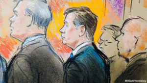 Paul Manafort appears in court on the first day of his trial in Virginia. Sketch by Bill Hennessy.