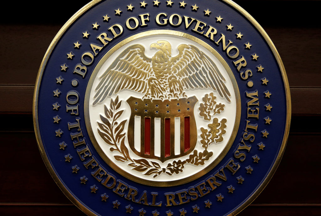 The seal for the Board of Governors of the Federal Reserve System is displayed in Washington, U.S., June 14, 2017. REUTERS/Joshua Roberts/File Photo