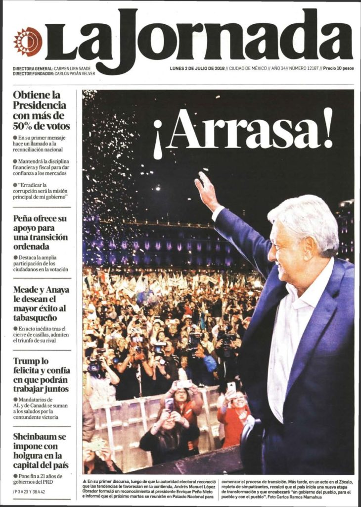 """Sweep!"" declares a newspaper in Mexico after Andres Manuel Lopez Obrador's presidential win on July 1."