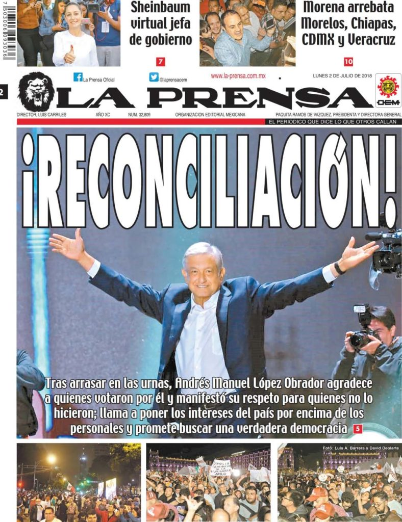 Andres Manuel Lopez Obrador promises reconciliation after winning Mexico's presidential election on July 1.
