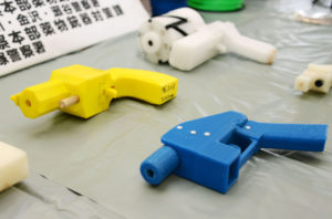 Seized plastic handguns which were created using 3D printing technology are displayed at Kanagawa police station in Yokohama, south of Tokyo, in this photo taken by Kyodo May 8, 2014.