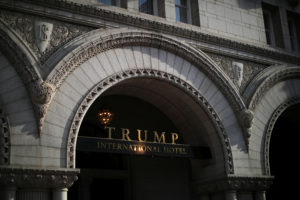 The entrance of Trump International Hotel is seen in downtown Washington, U.S., June 28, 2017. REUTERS/Carlos Barria - RC1643E38B30