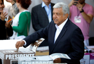 Presidential candidate Andres Manuel Lopez Obrador casts his ballot at a polling station during the presidential election in Mexico City