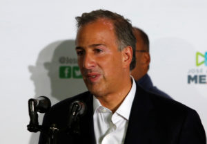 Jose Antonio Meade addresses supporters after polls closed in the presidential election, at the Institutional Revolutionary Party (PRI) headquarters in Mexico City on July 1. Photo by Ginnette Riquelme/Reuters