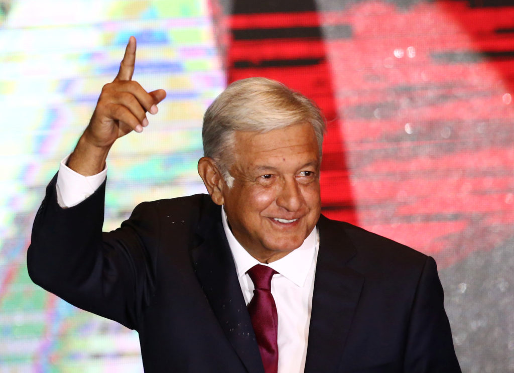 Andres Manuel Lopez Obrador addresses supporters after Mexico's presidential election on July 1. Photo by Edgard Garrido/R...