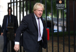 Britain's Secretary of State for Foreign and Commonwealth Affairs Boris Johnson arrives at 10 Downing Street in London, Britain earlier this month. Photo by Simon Dawson/Reuters