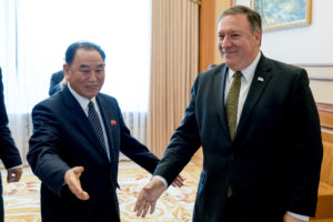 Secretary of State Mike Pompeo (right) and Kim Yong Chol, a North Korean senior ruling party official and former intelligence chief, in Pyongyang, North Korea, on July 7. Photo by Andrew Harnik/Pool via Reuters