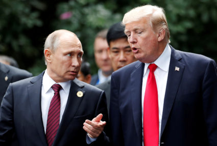 Russia's President Vladimir Putin and President Donald Trump are pictured at the APEC Summit in Danang, Vietnam on Nov. 11, 2017. File photo by Jorge Silva/Reuters