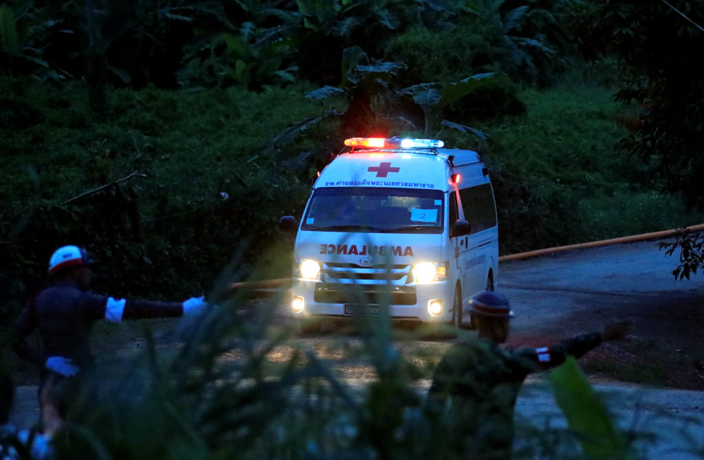 An ambulance leaves Tham Luan Nang Non cave complex in northern Thailand on July 9. Photo by Soe Zeya Tun/Reuters