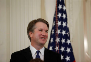 U.S. Supreme Court nominee judge Brett Kavanaugh looks on in the East Room of the White House in Washington, U.S., July 9, 2018. REUTERS/Leah Millis - RC18D04B5440