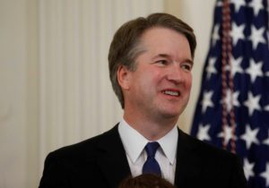 Supreme Court nominee judge Brett Kavanaugh looks on in the East Room of the White House. Photo by Leah Millis/Reuters