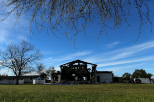 The structure of a mosque is seen one day after a fire at the Victoria Islamic Center inn Victoria, Texas. Photo by Mohammad Khursheed/Reuters