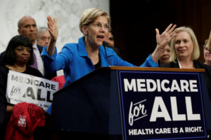 "Senator Elizabeth Warren (D-Mass.) speaks during an event to introduce the ""Medicare for All Act of 2017"" on Capitol Hill in Washington, D.C., in September 2017. Photo by Yuri Gripas/Reuters"