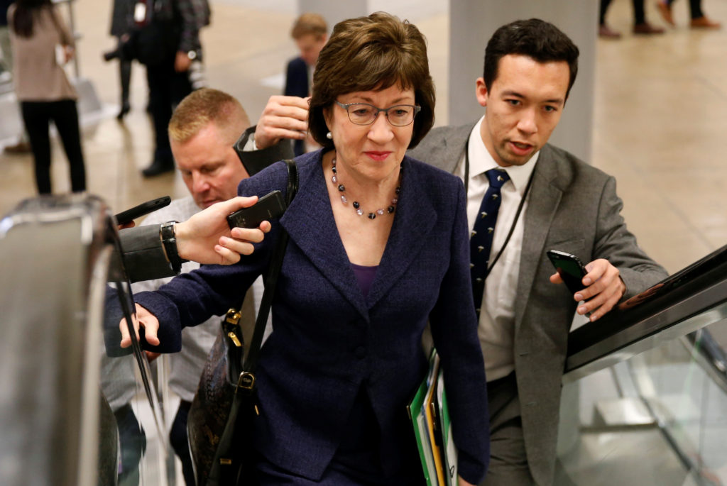 Senator Susan Collins (R-Maine) speaks to reporters as she arrives for a nomination vote at the U.S. Capitol in Washington, D.C. Photo by Joshua Roberts/Reuters
