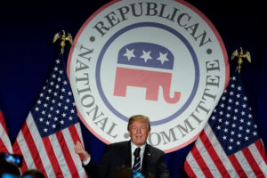 President Donald Trump addresses the Republican National Committee's February 2018 meeting at the Washington Hilton in Washington, D.C. Photo by Yuri Gripas/Reuters