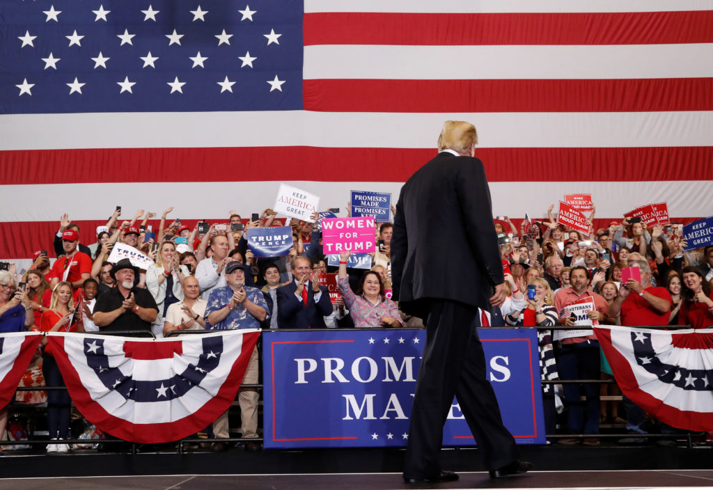 U.S. President Donald Trump holds a Make America Great Again rally at Nashville Municipal Auditorium in Nashville, Tennessee, U.S., May 29, 2018. REUTERS/Leah Millis - RC1641FB3C00