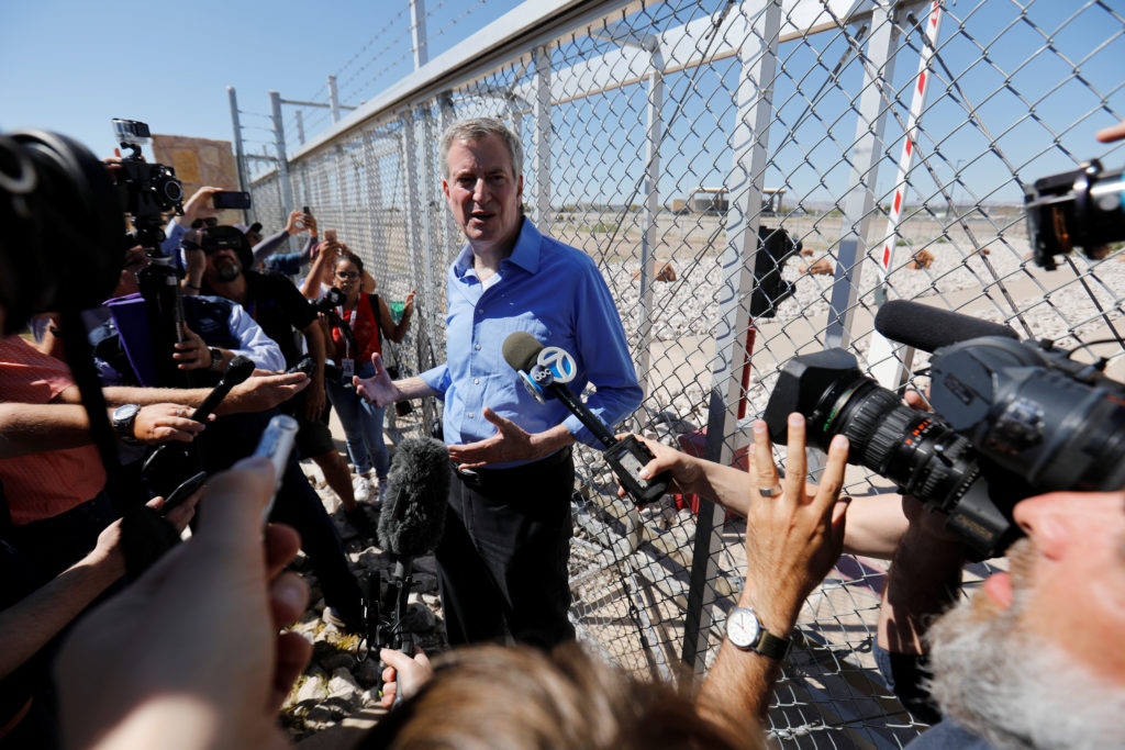 New York mayor Bill de Blasio speaks to media after being denied access to a detention facility where children of migrants are being held, at the port of entry in Tornillo, Texas, on June 21, 2018. Photo by Mike Blake/Reuters