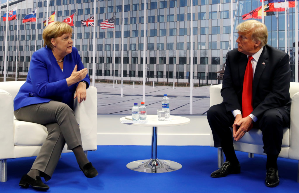 President Donald Trump meets with German Chancellor Angela Merkel during the NATO summit in Brussels Belgium on July 11