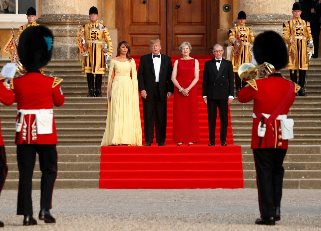 First lady Melania Trump and President Donald Trump attend a dinner at Blenheim Palace near Oxford with British Prime Minister Theresa May and her husband Philip on July 12. Photo by Kevin Lamarque/Reuters