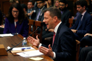 "FBI Deputy Assistant Director Peter Strzok testifies before the House Committees on Judiciary and Oversight and Government Reform joint hearing on ""Oversight of FBI and DOJ Actions Surrounding the 2016 Election"" in the Rayburn House Office Building in Washington, D.C. Photo by Leah Millis/Reuters"