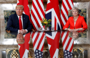President Donald Trump and British Prime Minister Theresa May meet at Chequers in Buckinghamshire, Britain. Photo by Kevin Lamarque/Reuters