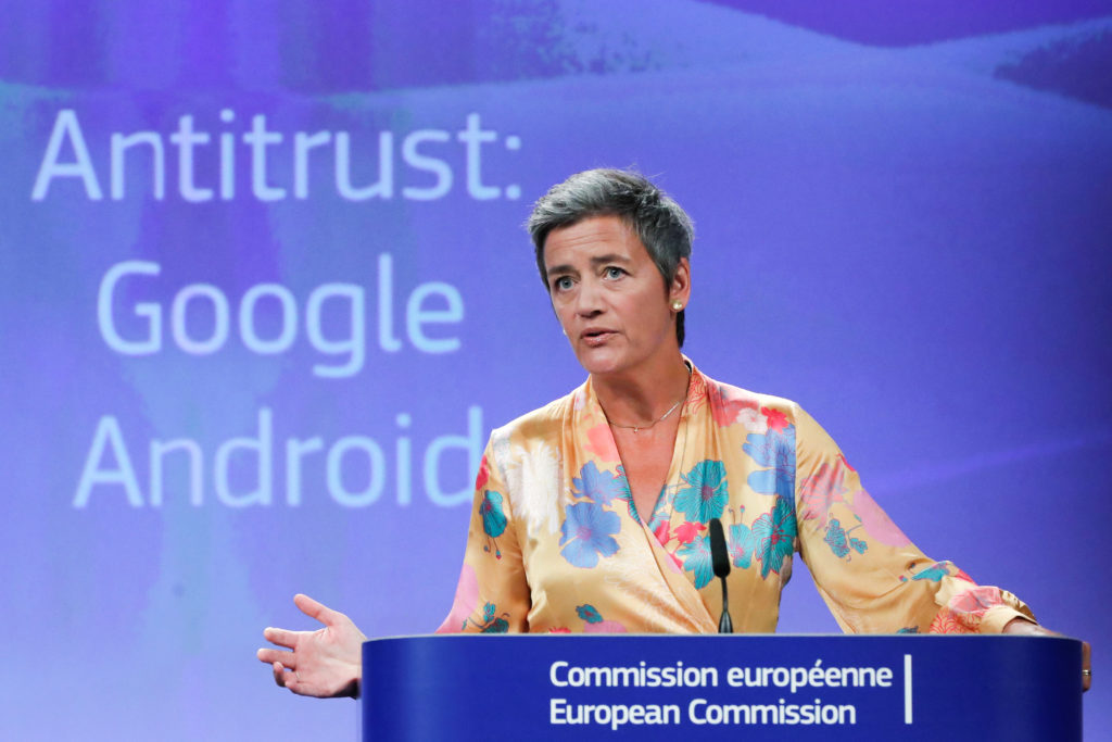 European Competition Commissioner Margrethe Vestager addresses a news conference on Google in Brussels, Belgium. Photo by Yves Herman/Reuters