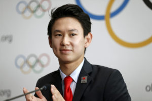 Denis Ten of Kazakhstan, bronze medalist in men's singles figure skating of the 2014 Winter Olympics in Sochi, attends a news conference at the Olympic Museum in Lausanne, Switzerland, on June 9, 2015. Photo by Pierre Albouy/Reuters