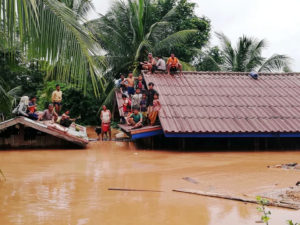 Villagers evacuate after the Xepian-Xe Nam Noy hydropower dam collapsed in Attapeu province. Photo by ABC Laos News/Handout via Reuters