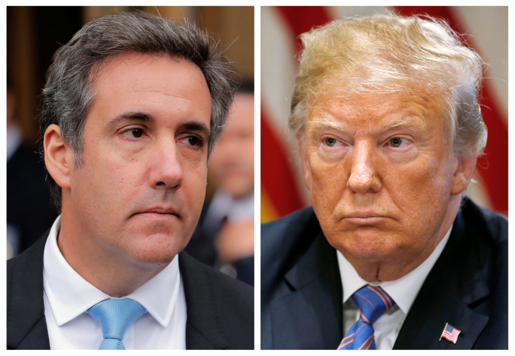 A combination photo shows President Donald Trump's one-time personal attorney, Michael Cohen, and Trump. Photos by Lucas Jackson, Leah Millis/Reuters