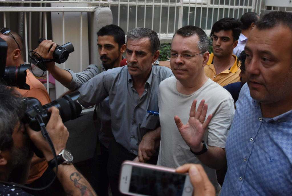 U.S. pastor Andrew Brunson reacts as he arrives at his home after being released from the prison in Izmir, Turkey on July ...