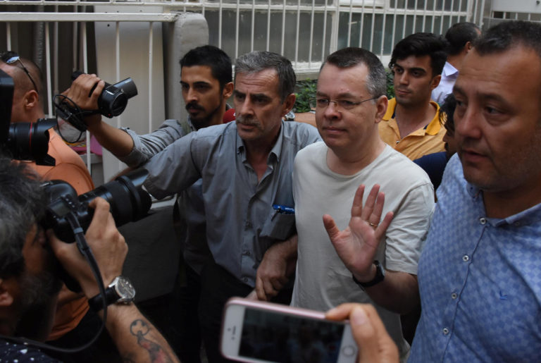 U.S. pastor Andrew Brunson reacts as he arrives at his home after being released from the prison in Izmir, Turkey on July 25, 2018. Photo by Demiroren News Agency, DHA via Reuters